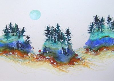 "*SOLD* A Prayer of Eventide, watercolor,  21"" x 10"""