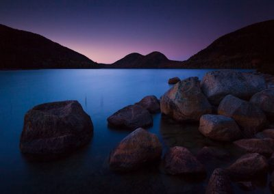 Sunset at Jordan Pond- the Bubble Mountains, Acadia National Park, Maine, USA