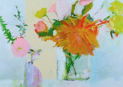 "*SOLD* Fall Dahlias at Ahni's Studio, oil on linen, 11"" x 14"""