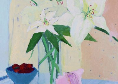 "*SOLD* Lilly with Conch: Still Life, oil on linen, 16"" x 16"""