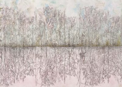 "Pond, mixed media on mylar, 30"" x 42"""