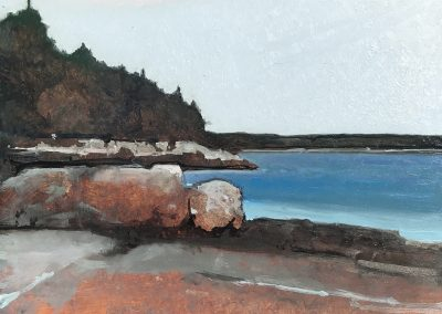 "Low Tide Landing Beach, 12 x 12,"" oil on panel"