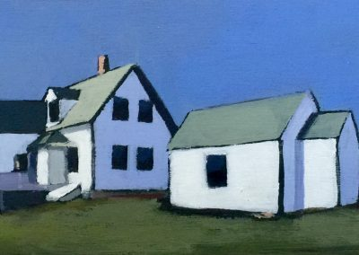 *SOLD* Keepers Landscape, French Blue, acrylic on board, 4x12""