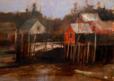 """Matinicus Harbor Waterfront, oil on panel, 12x16"""""""