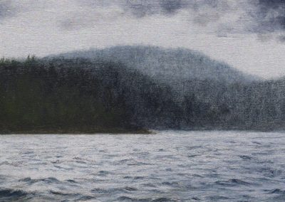 """Northeast Harbor from the water 2019, graphite and oil on aluminum, 3x5"""""""