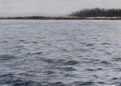 """The Light on the shore 2019, graphite and oil on aluminum, 3x5"""""""