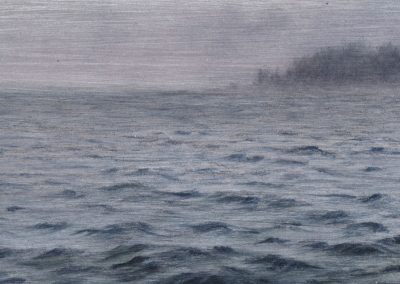 """The Waves and the Fog, graphite and oil on aluminum, 3x5"""""""