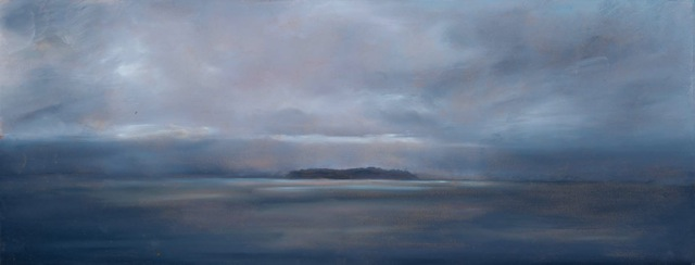 *SOLD* Gathering Storm, oil on board, 7 x 18""
