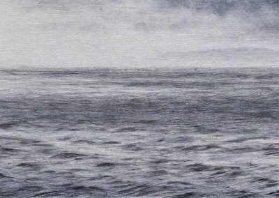 """Water Textures 2019, graphite and oil on aluminum, 3x5"""""""