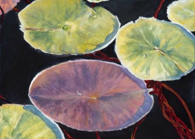 Waterlilies, watercolor and pastel on paper, 19 x 26""