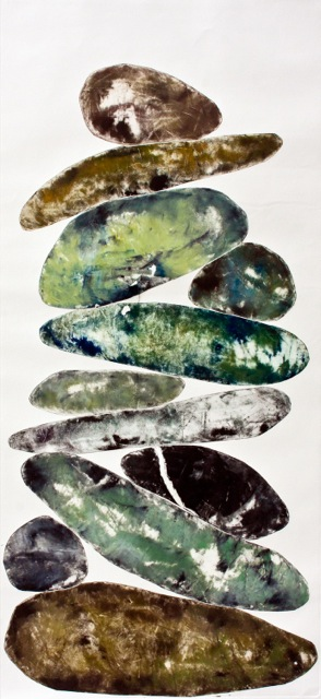 Balance Series #4, monotype in oil on paper, 40 x 18""