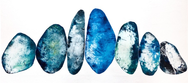 Crown of Stones, monotype on paper, 42 x 18""