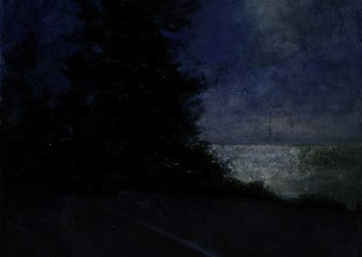 """Incandescent Road, oil and silver leaf on board, 18 x 20"""""""