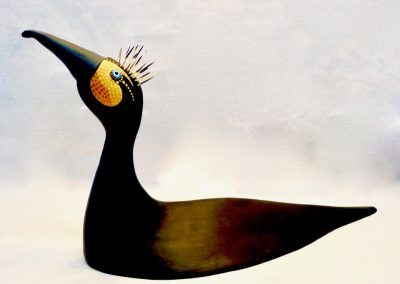 David Sears, Maine Art, maine bird carving, cormorant carving, cormorant sculpture, abstract cormorant