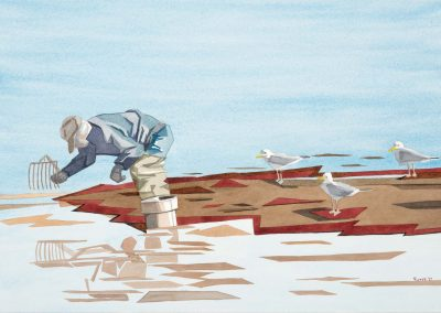 Diana Roper McDowell, Maine artist, maine art, maine watercolor artist, wormer, claming, low tide