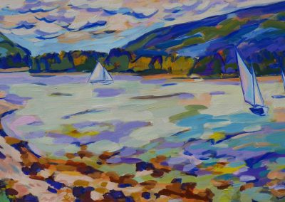 beth lambert, colorist, maine artist, color, landscape, acadia national park, sun, sail, somes sound