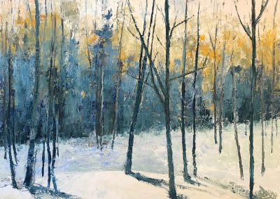 Liddy Hubble, maine artist, art, fine art, oil on linen, contemporary, nature, forest, trees, spring snow, woods