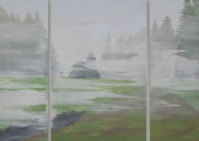 deborah lawrence schafer, maine art, fog series, coastal maine, fine art, triptych