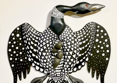 David Sears, maine art, carving, sculpture, wall hanging, loon with chicks