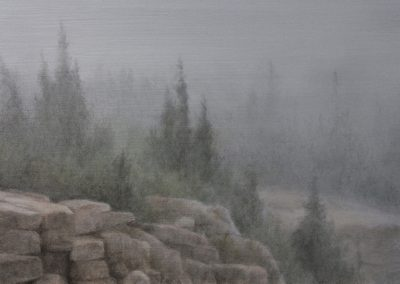 Lisa Lebofsky, maine art, contemporary, ice painting, water, climate change, cadillac mountain fog, acadia national park