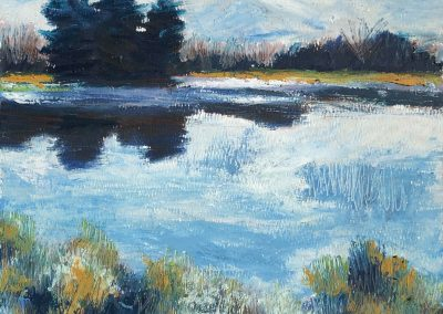 Liddy Hubble, maine artist, art, fine art, oil on linen, contemporary, nature, aunt betty pond sketch