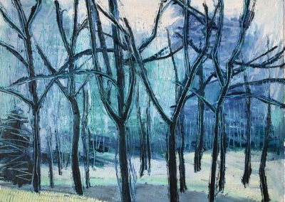 Liddy Hubble, maine artist, art, fine art, oil on linen, contemporary, nature, blue trees
