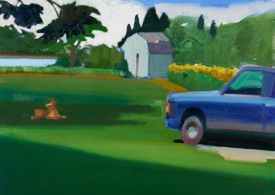 Mary prince, maine, art, artist, contemporary, painting, truck, dog, landscape, west river view