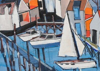 town pier, paul kelly, harbor scene, harbor painting, maine art, contemporary painting, architecture