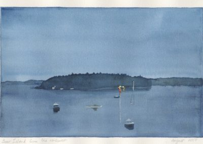 "Bear Island from the northwest, watercolor on arches paper, 10 1/4"" x 14 3/16"""
