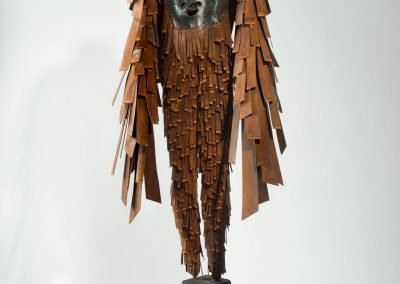 Icarus, forged and fabricated steel, patina, wax