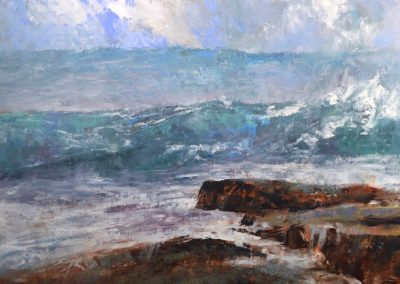 *SOLD* Storm Seas, oil on panel, 24 x 40""