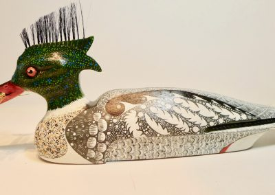 """Red-Breasted Merganser, carved and painted mixed wood, metal, hair, 18 x 8 x 4"""""""