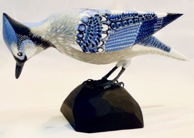 David Sears, Maine Art, maine bird carving, blue jay carving, blue jay sculpture
