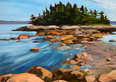 anne holt, maine art, maine landscape, fine art, coastal island, land bridge