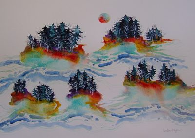 Linden O'ryan, maine watercolor artist, whimsical art, dreamy maine art, islands