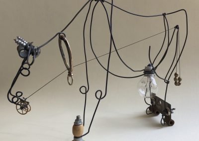 Liddy Hubble, maine artist, art, fine art, wire, found object, sculpture, contemporary, nature, animals, cow, grazing