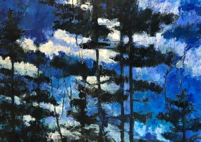 Liddy Hubble, maine artist, art, fine art, oil on linen, contemporary, nature, moonlight, trees, clouds, sky