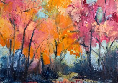 Liddy Hubble, maine artist, art, fine art, oil on linen, contemporary, nature, red maples, trees, bright, fall