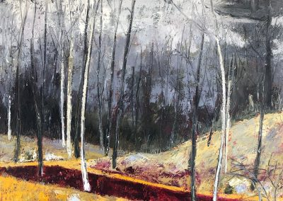 Liddy Hubble, maine artist, art, fine art, oil on linen, contemporary, nature, spring fog, trees, forest, woods