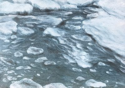 Lisa Lebofsky, maine art, contemporary, ice painting, water, climate change, freezing ice